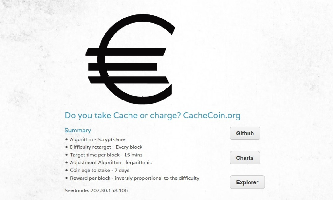 Cachecoin Screenshot