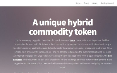 Cryptocurrency URO Completes World's First Commodity Order Using A Commodity Backed Cryptocurrency