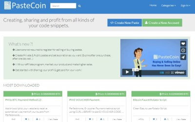 PasteCoin.com Allows Bitcoin Users To Buy, Sell and Profit From Code Snippets Worldwide