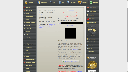 While your bet is waiting to be transmitted, this screen is shown