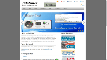 The Bitminer Mining Pool front page