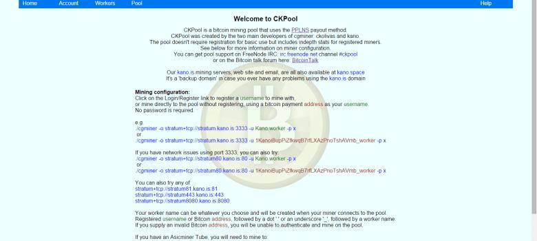 The Kano / CKPool Homepage