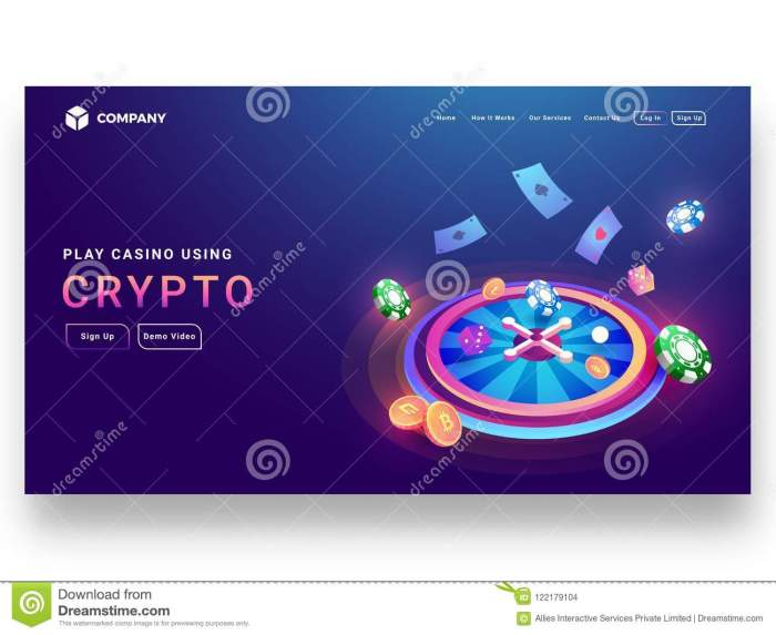 2 crypto casino concept isometric design roulette wheel di dice poker chip coins playing cards sign up page website 122179104 - Forum