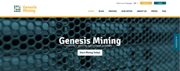 Genisis Mining Screenshot