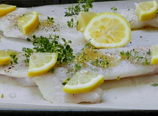 Lemon Drowned Cod and Fraises des Bois