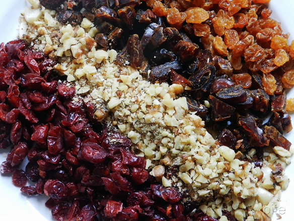 cranberries, nuts, dates and raisins