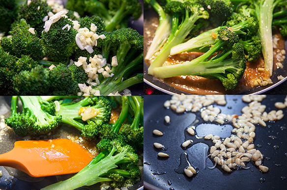broccoli stir fried with orange, ginger and pine nuts
