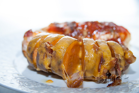 Hasselback Sweet Potatoes with Bacon and Cheddar