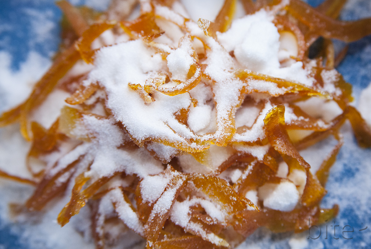 candied orange peel – it came without packages, boxes or bags!