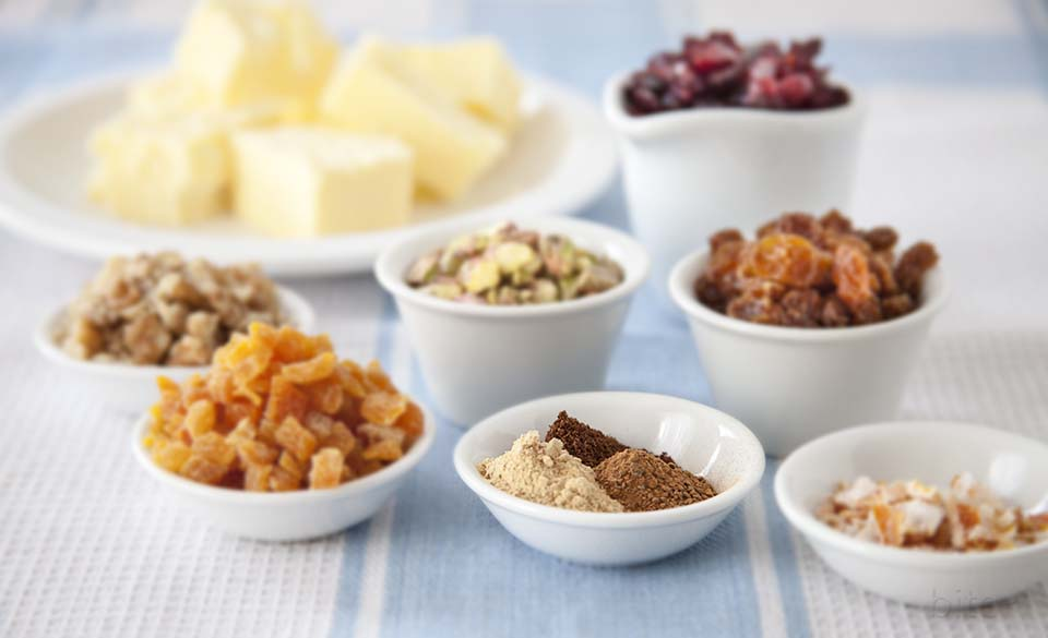 spices, dried fruit and nuts
