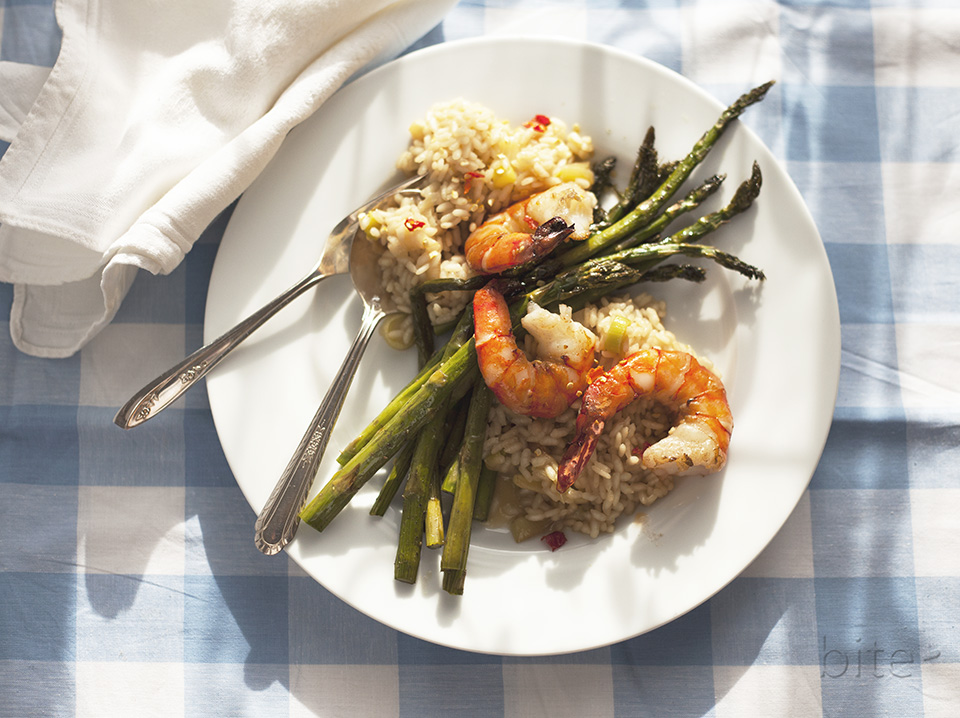 Asparagus and Jumbo Shrimp Risotto
