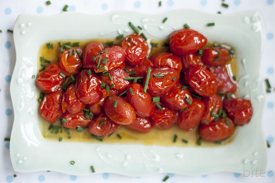 Oven Baked Grape Tomatoes with Fresh Chives