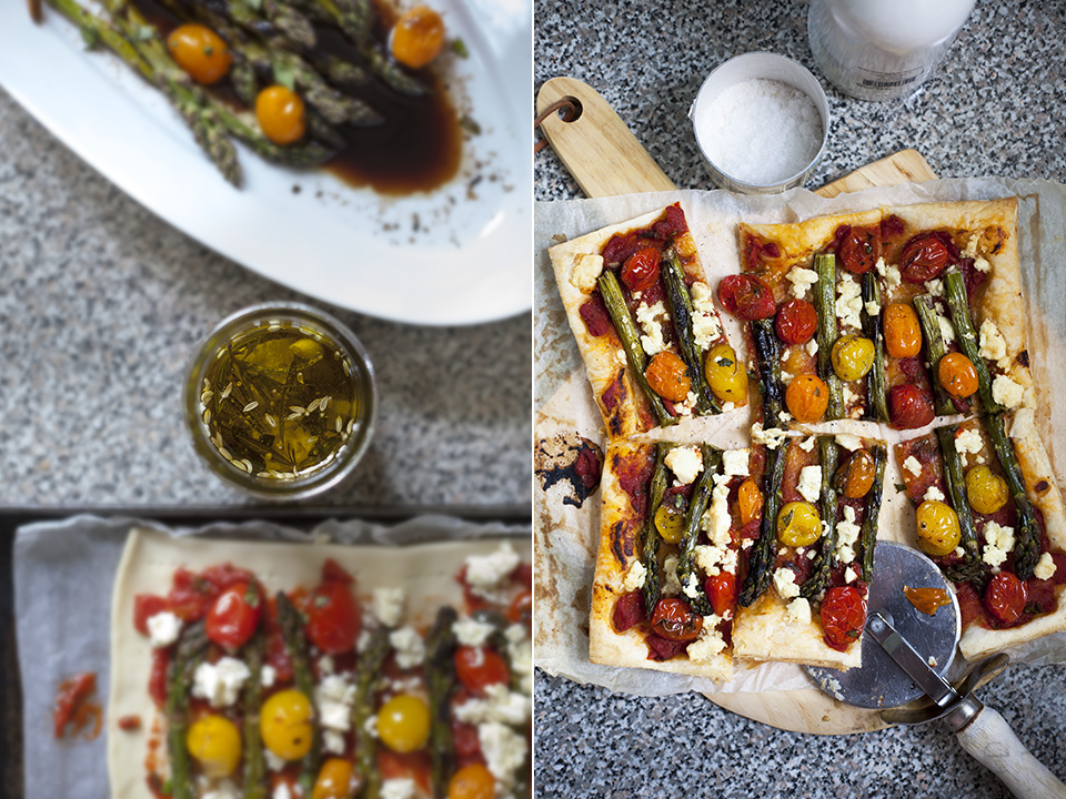 grilled asparagus and herbed feta tart with buttercups / bitebymichelle.com