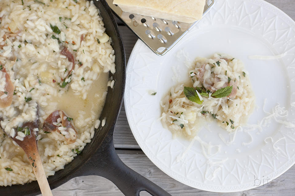 leek and prosciutto risotto with fresh mint and chilies