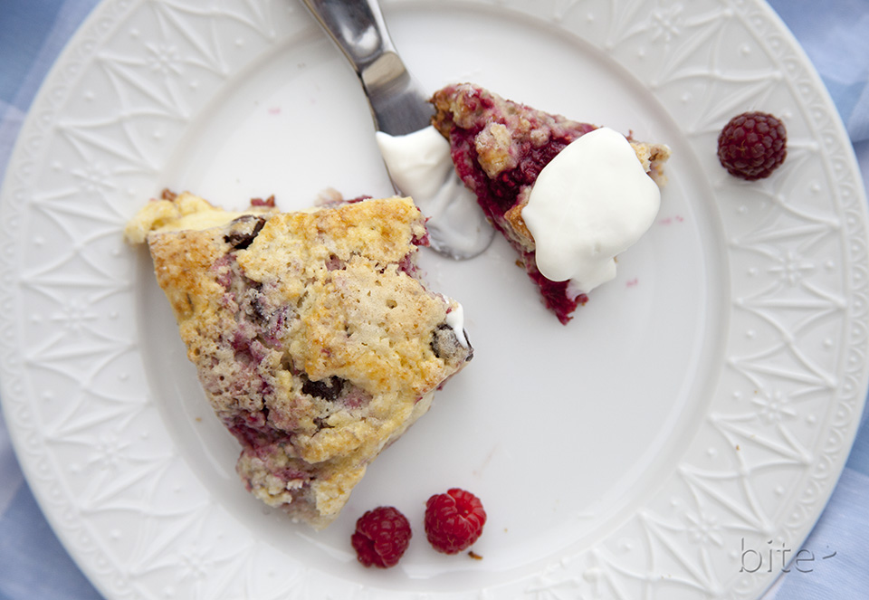 raspberry chocolate chip cream scones