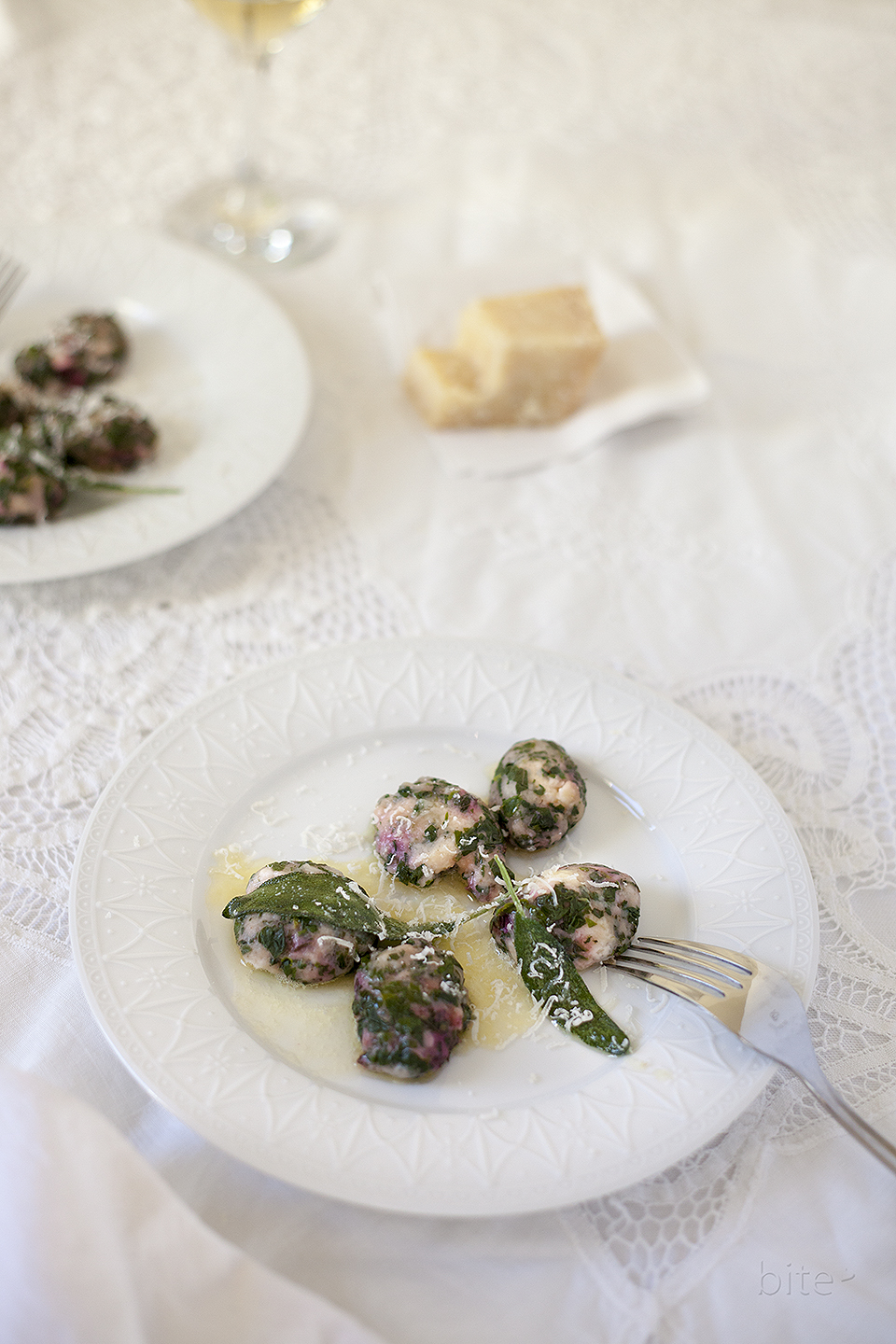 naked ravioli with homemade ricotta and beet greens