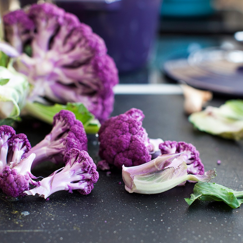 purple cauliflower spring soup with crème fraiche - bitebymichelle.com