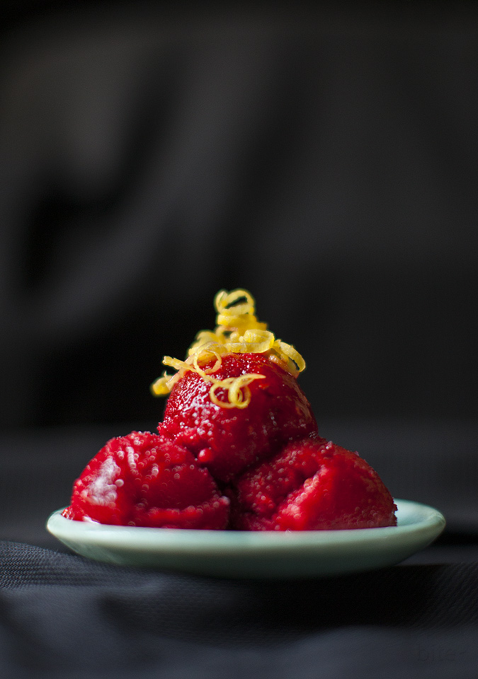 raspberry lemon sorbet - pucker up l bitebymichelle.com