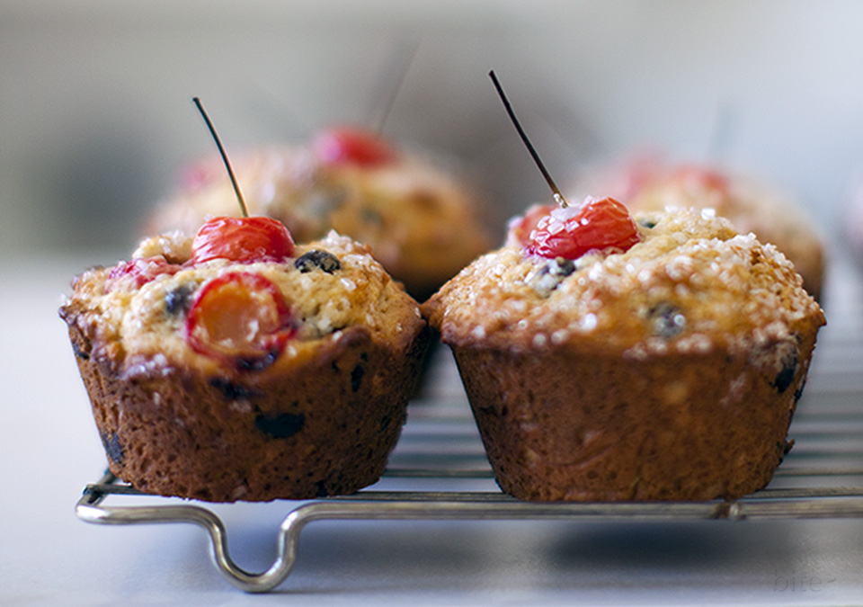 sour cherry chocolate chip muffins - bliss l bitebymichelle.com