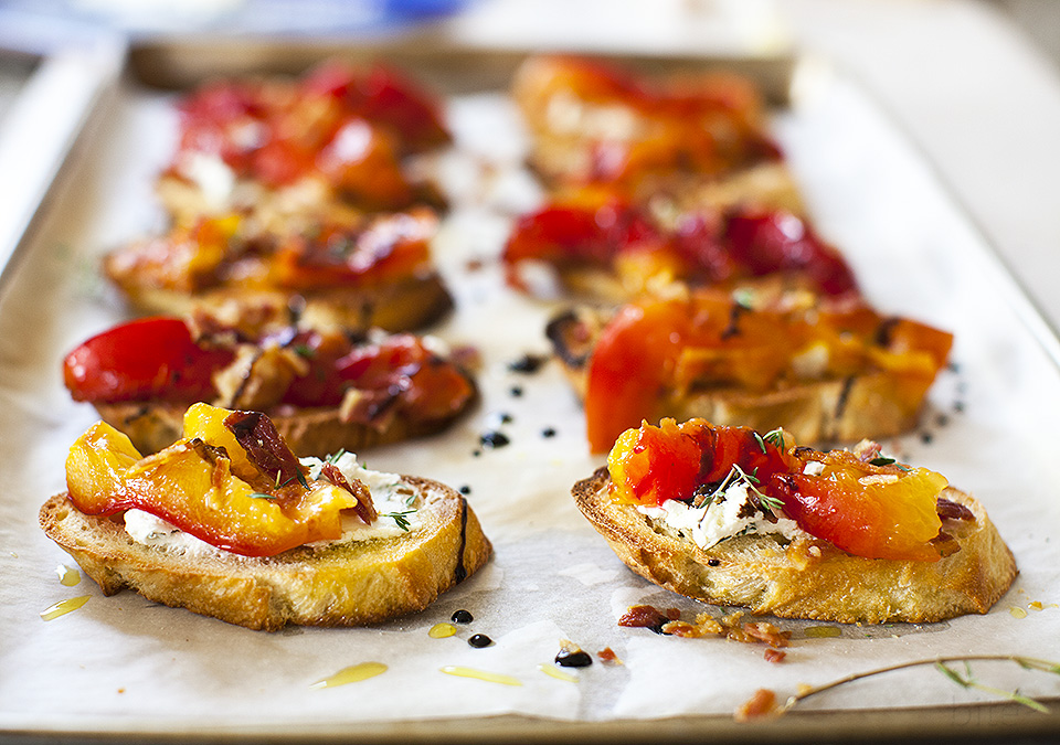 roasted plum crostini for breakfast l bitebymichelle.com