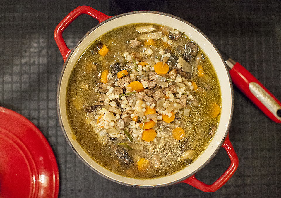 beef wild mushroom and barley soup - you can't rush it - bite