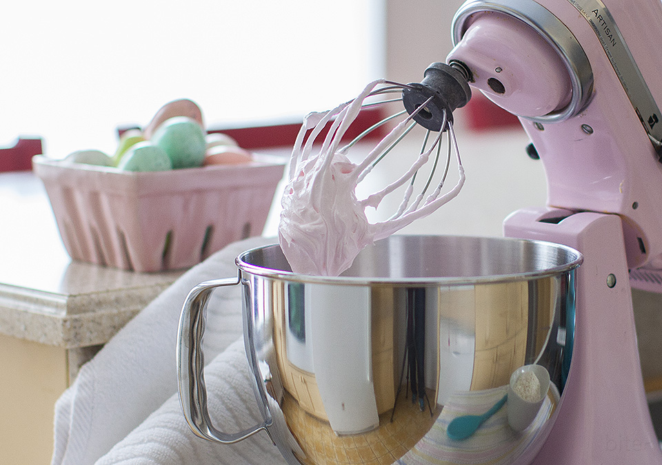 pink coconut meringues for Easter