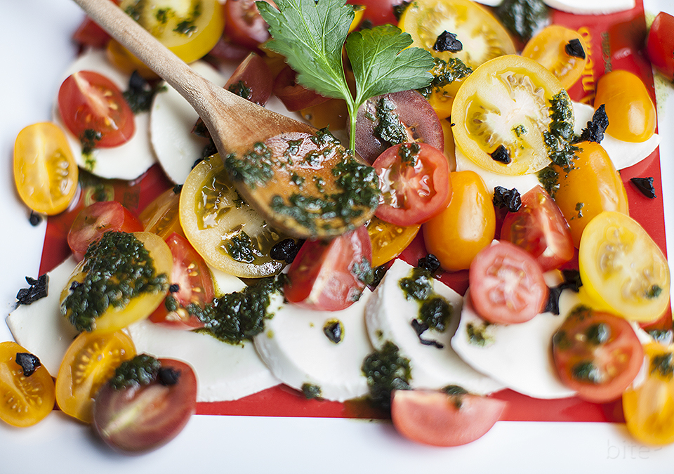 black garlic caprese salad – deep, dark and lingering