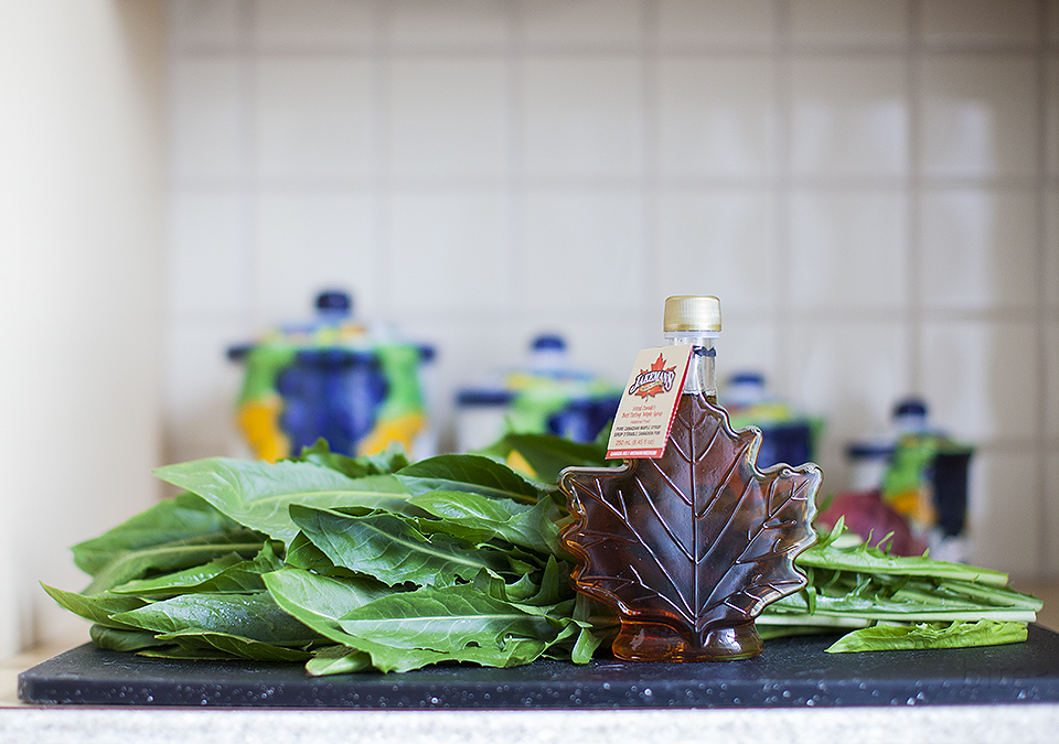 braised dandelion greens with maple syrup l bitebymichelle.com