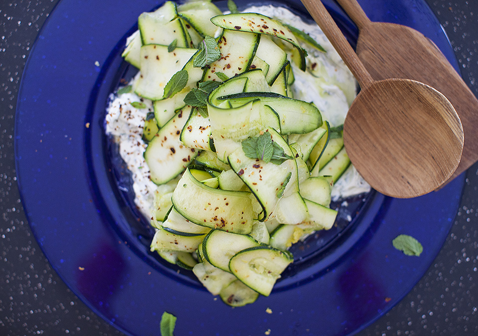 zucchini carpaccio with mascarpone and mint