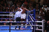 June 1, 2019; New York, NY; IBF, WBA, WBO and IBO heavyweight champion Anthony Joshua and Andy Ruiz during their heavyweight championship bout at Madison Square Garden in New York City. Mandatory Credit: Melina Pizano/Matchroom Boxing UK