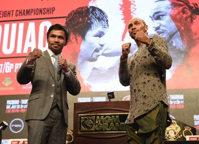 LAS VEGAS - JULY 17: Manny Pacquiao and Keith Thurman attend the final press conference for the PBC on Fox Sports Pay-Per-View at the MGM Grand on July 17, 2019 in Las Vegas, Nevada. (Photo by Frank Micelotta/Fox Sports/PictureGroup)