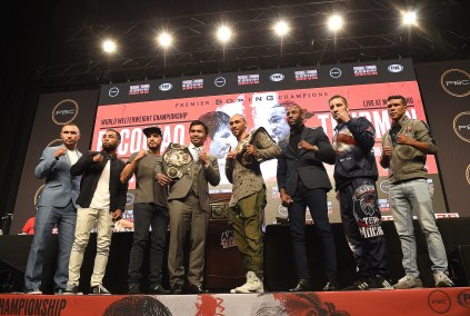 LAS VEGAS - JULY 17: (L-R) Sergey Lipinets, Luis Nery, Omar Figueroa, Manny Pacquiao, Keith Thurman, Yordenis Ugas, John Molina Jr., and Juan Carlos Payano at the final press conference for the PBC on Fox Sports Pay-Per-View at the MGM Grand on July 17, 2019 in Las Vegas, Nevada. (Photo by Frank Micelotta/Fox Sports/PictureGroup)