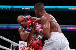 October 12, 2019; Chicago, IL, USA; Anthony Sims Jr. and Morgan Fitch during their October 12, 2019 Matchroom Boxing USA fight at the Wintrust Arena. Mandatory Credit: Ed Mulholland/Matchroom Boxing USA