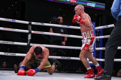October 12, 2019; Chicago, IL, USA; TJ Doheny and Jesus Martinez during their October 12, 2019 Matchroom Boxing USA fight at the Wintrust Arena. Mandatory Credit: Ed Mulholland/Matchroom Boxing USA