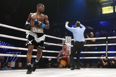 January 30, 2020; Miami, FL, USA; Austin Williams and Donald Sanchez during their January 30th Matchroom Boxing USA bout at The Meridian. Mandatory Credit: 62012000976#1/Matchroom Boxing USA