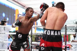 October 23, 2020; Mexico City, Mexico; Otha Jones III and Kevin Montiel during their Matchroom bout on October 23, 2020. Mandatory Credit: Ed Mulholland/Matchroom.