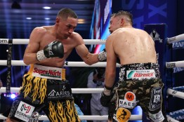 October 23, 2020; Mexico City, Mexico; Juan Francisco Estrada and Carlos Cuadras during their Matchroom bout on October 23, 2020. Mandatory Credit: Ed Mulholland/Matchroom.