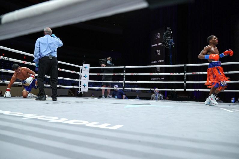 November 7, 2020; Hollywood, Florida; Raymond Ford and Rafael Reyes during their bout on the November 7, 2020 Matchroom Boxing card in Hollywood, FL. Mandatory Credit: Ed MulhollandMatchroom.