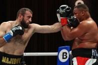 November 27, 2020; Hollywood, Florida; Mahammadrasul Majidov and Sahret Delgado during their bout on the November 27, 2020 Matchroom Boxing card in Hollywood, FL. Mandatory Credit: Ed Mulholland/Matchroom.