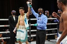 November 27, 2020; Hollywood, Florida; Daniyar Yeleussinov and Julius Indongo during their bout on the November 27, 2020 Matchroom Boxing card in Hollywood, FL. Mandatory Credit: Ed Mulholland/Matchroom.
