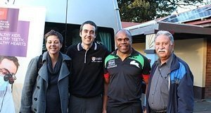 (L-R) Kylie Gwynne, Poche Centre for Indigenous Health; Dr Steven Naoum, Faculty of Dentistry; Rhys Wesser from South Sydney Cares; Boe Rambaldini from the Centre for Oral Health Strategy.