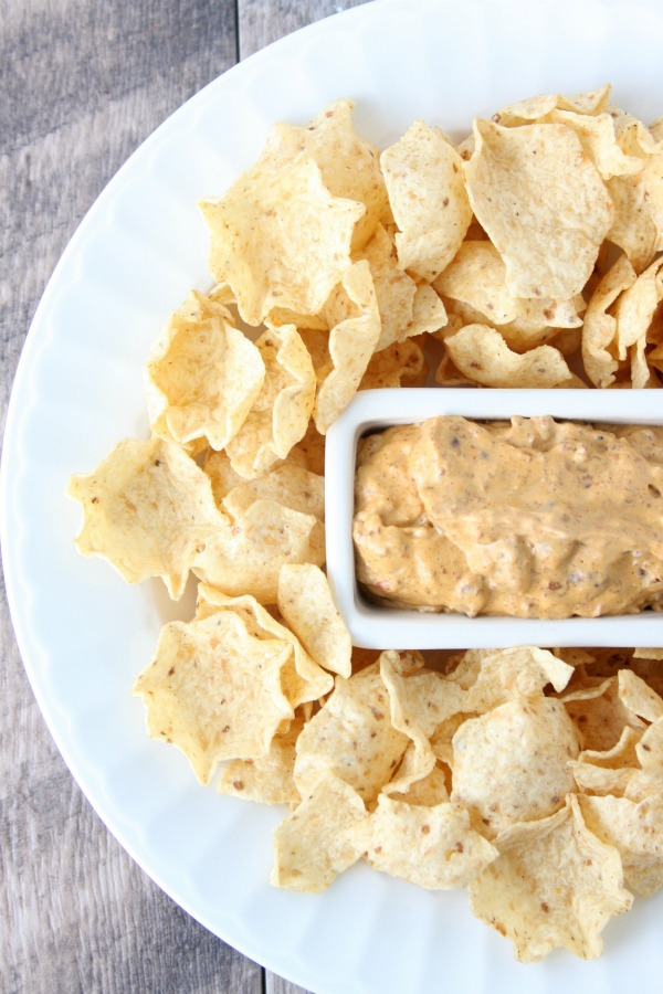 Creamy Bean Dip is perfect for game day, or even an easy appetizer! A simple, delicious recipe with only 4 ingredients!