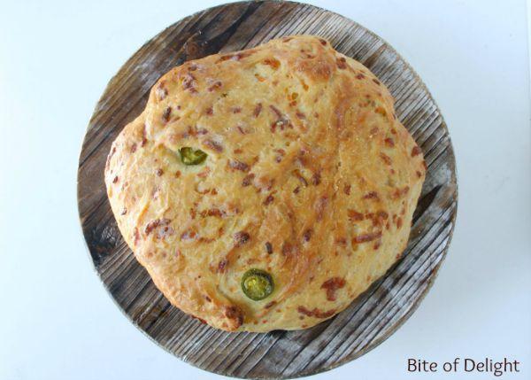 Cheddar Jalapeno French Peasant Bread   No Knead Bread Recipe