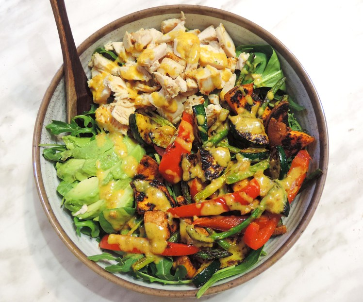 Roasted Chicken and Veggie Peanut Yellow Curry Bowl