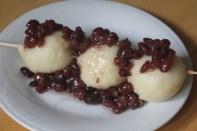 Tofu dumplings topped with anko, sweet red bean paste.