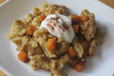 Pumpkin flavoured spätzle sautéed with diced pumpkin and topped with sour cream.