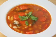 Soup with white beans, carrots, celery, and plenty of olive oil.