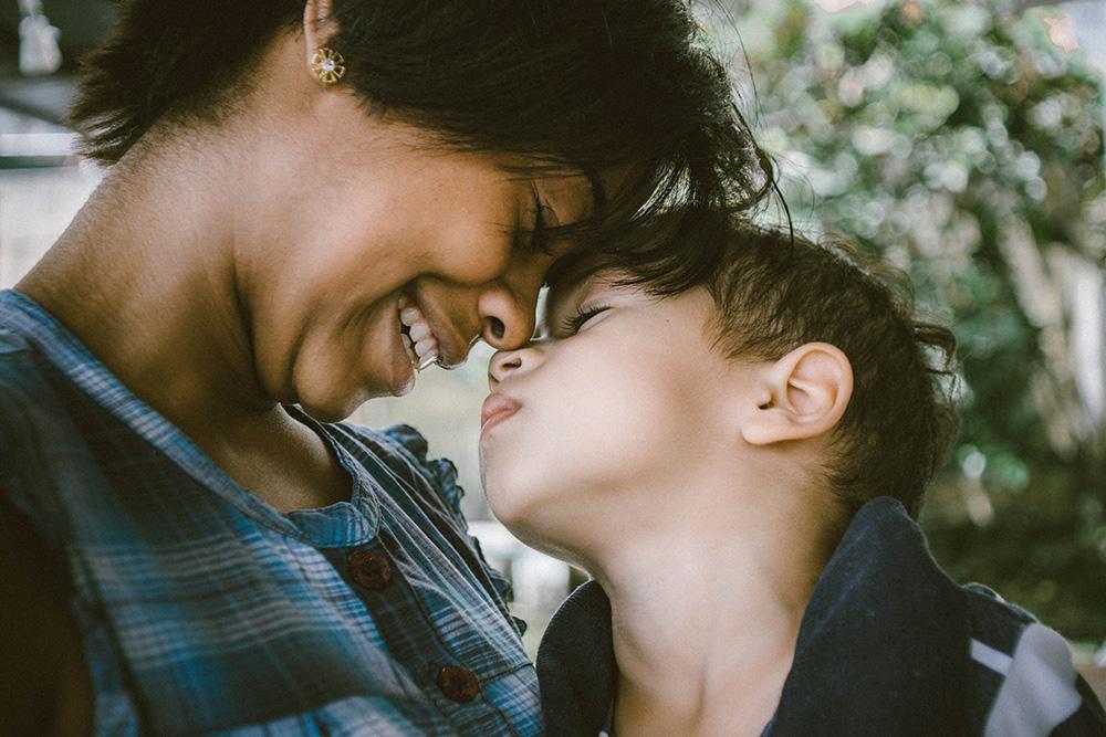 mom and son sharing a hug