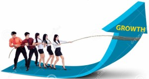 business-team-pulling-growth-arrow-sign-white-background-32447180