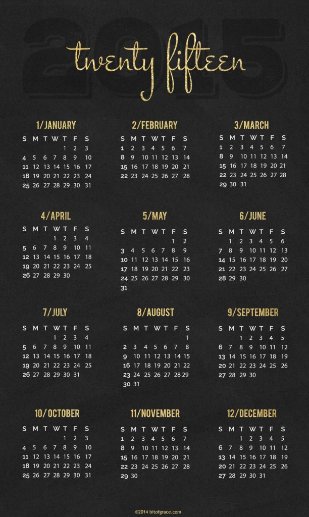 Happy New Year Calendar 2015